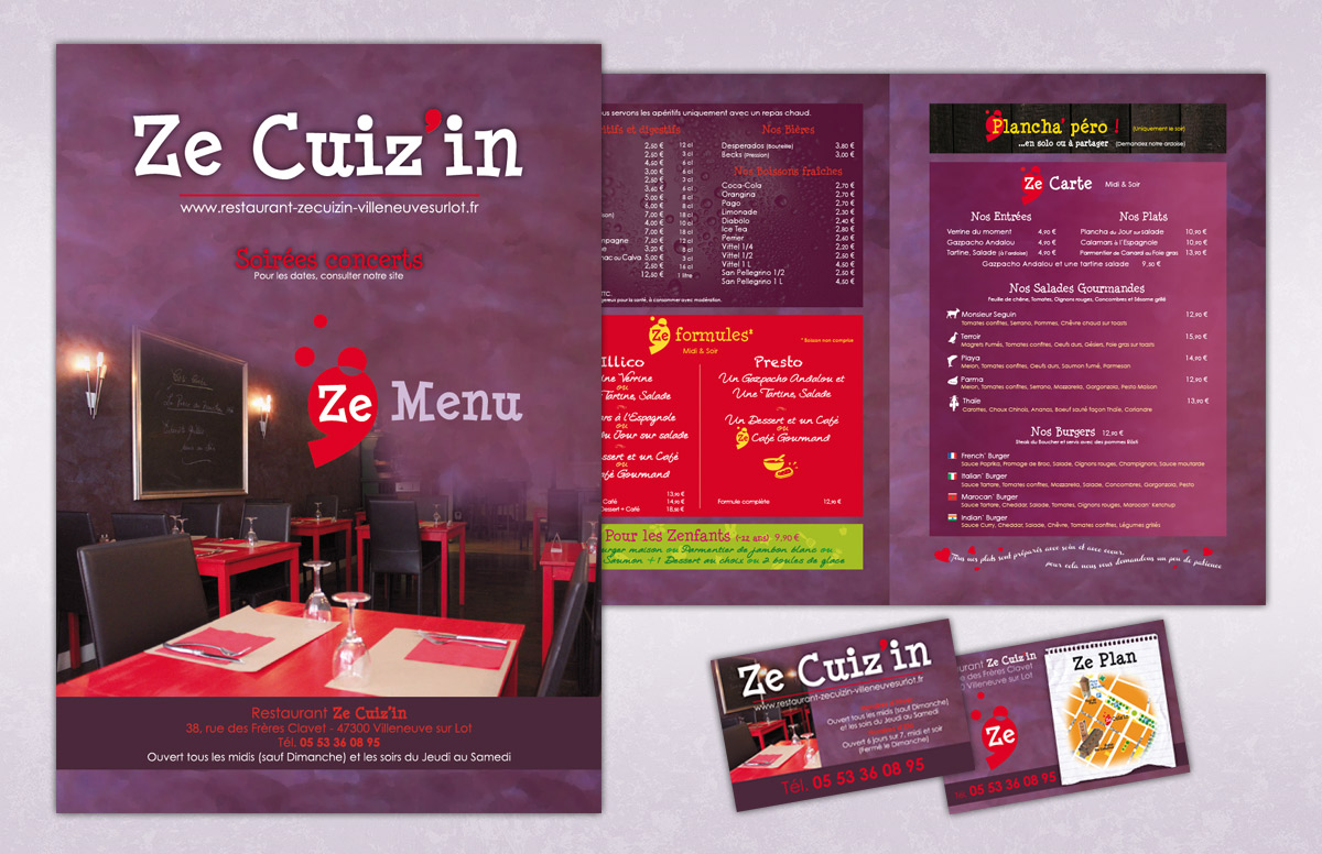 menu restaurant Ze Cuiz'in